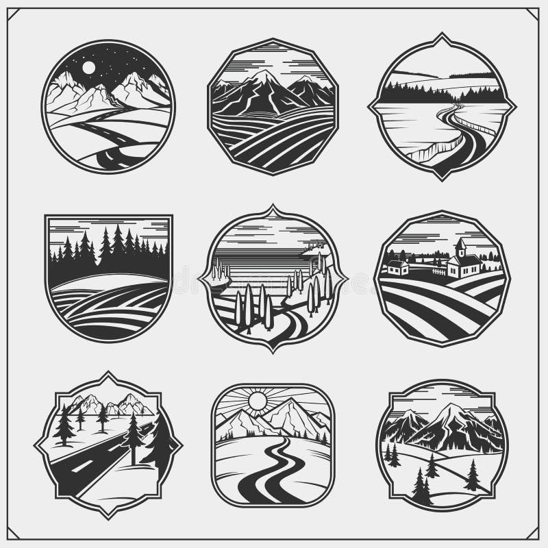 Ландшафты с сельским, montain гравировки собрания, ландшафт ночи Поля, луга и деревня бесплатная иллюстрация