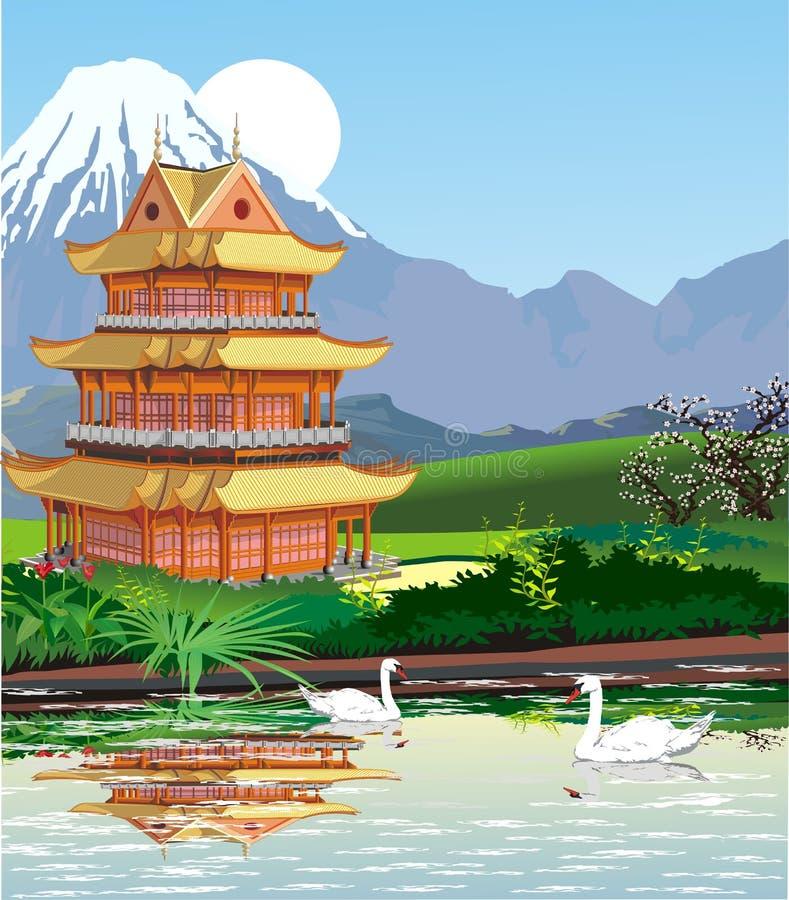 Ландшафты - японская пагода на Mount Fuji иллюстрация штока