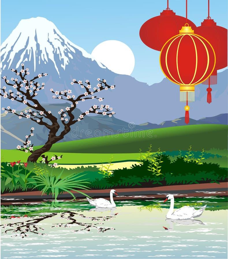 Ландшафты - японская пагода на Mount Fuji иллюстрация вектора