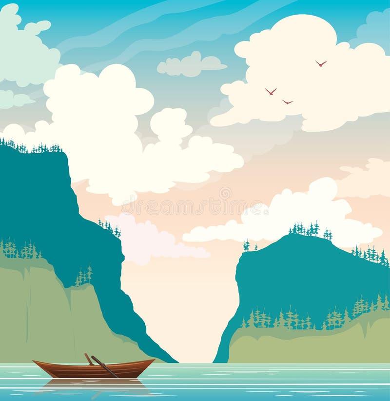 Ландшафт вектора лета - шлюпка, озеро, скалы стоковая фотография
