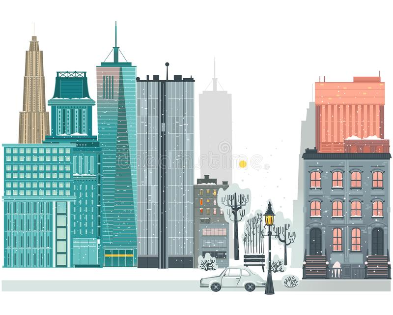 Ландшафт вектора плоско городской, предпосылка горизонта иллюстрация вектора