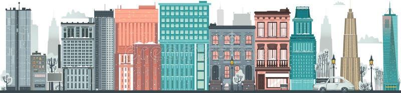 Ландшафт вектора плоско городской, предпосылка горизонта бесплатная иллюстрация