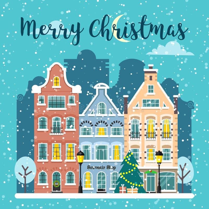 Ландшафт вектора улицы города рождества зимы бесплатная иллюстрация