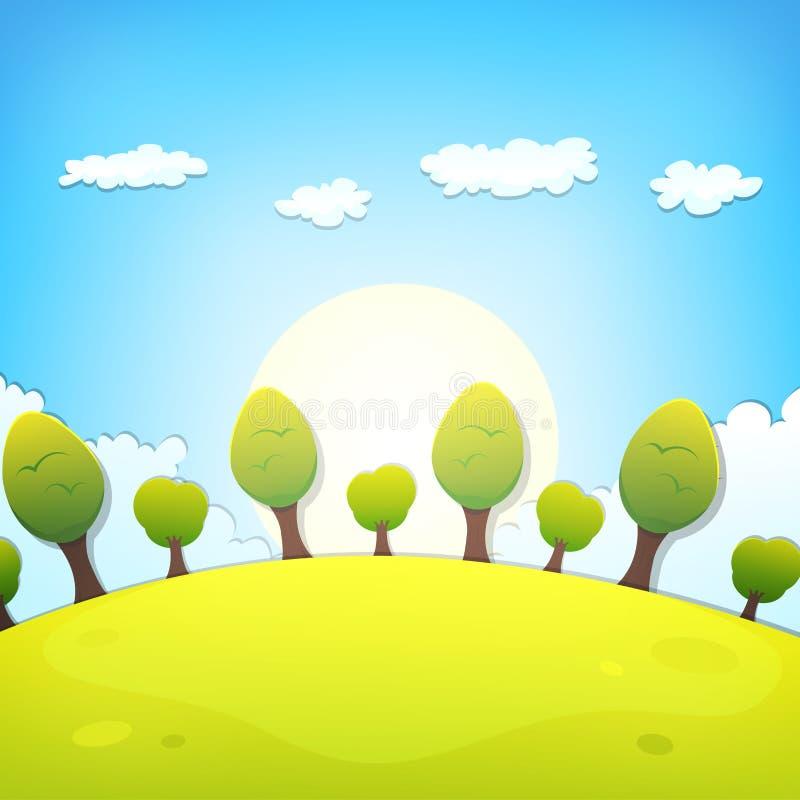 Ландшафт весны или шаржа лета иллюстрация вектора