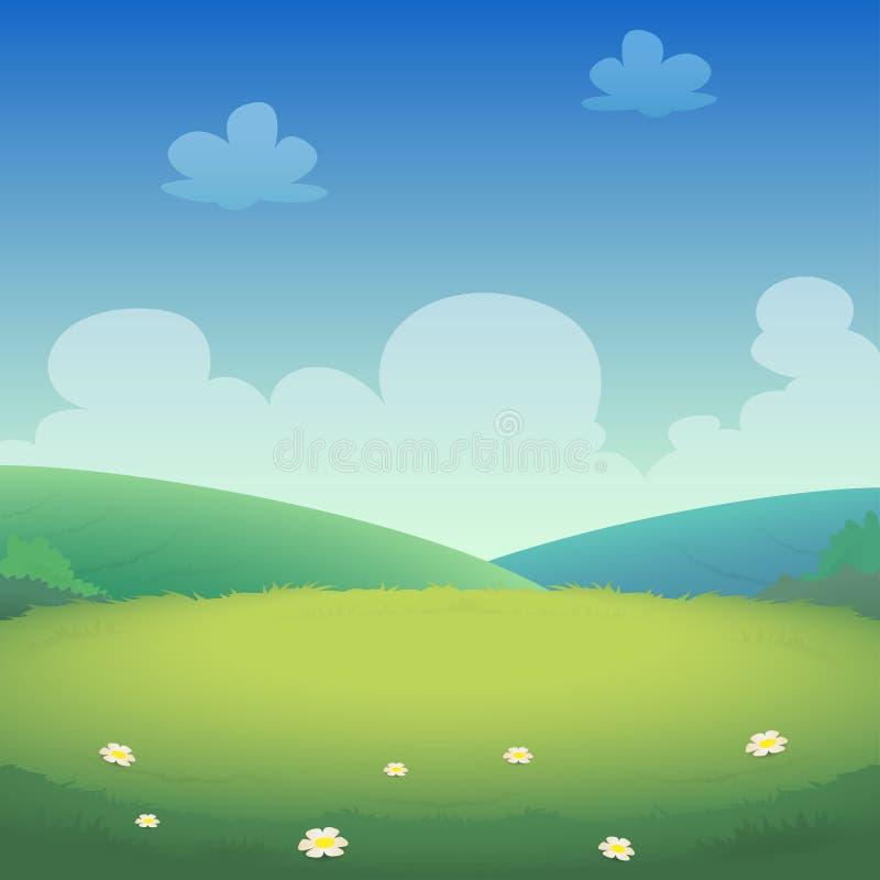 Ландшафт весны с полями и зелеными холмами - иллюстрацией вектора иллюстрация штока