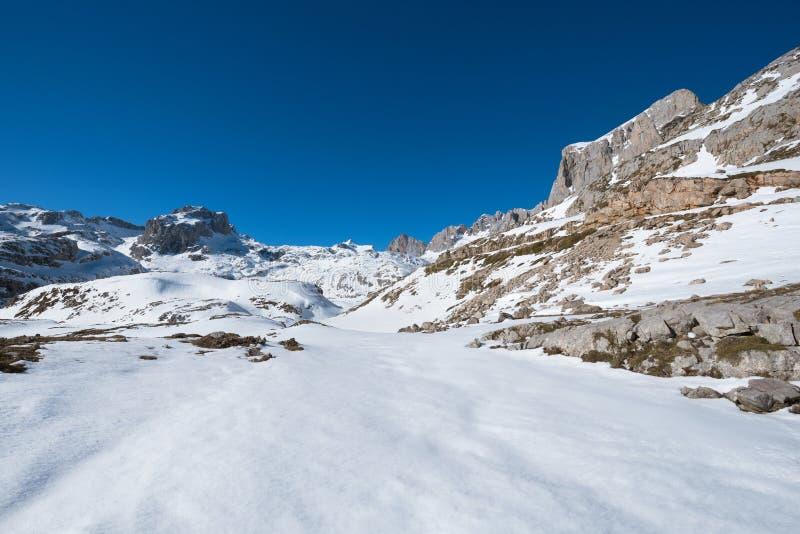 Ландшафт в горах Picos de Европы, Кантабрия зимы, Испания стоковое изображение