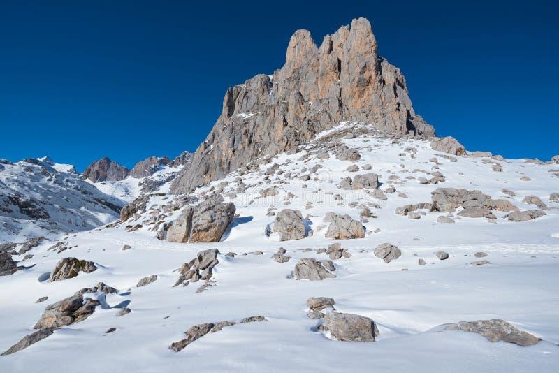 Ландшафт в горах Picos de Европы, Кантабрия зимы, Испания стоковое изображение rf