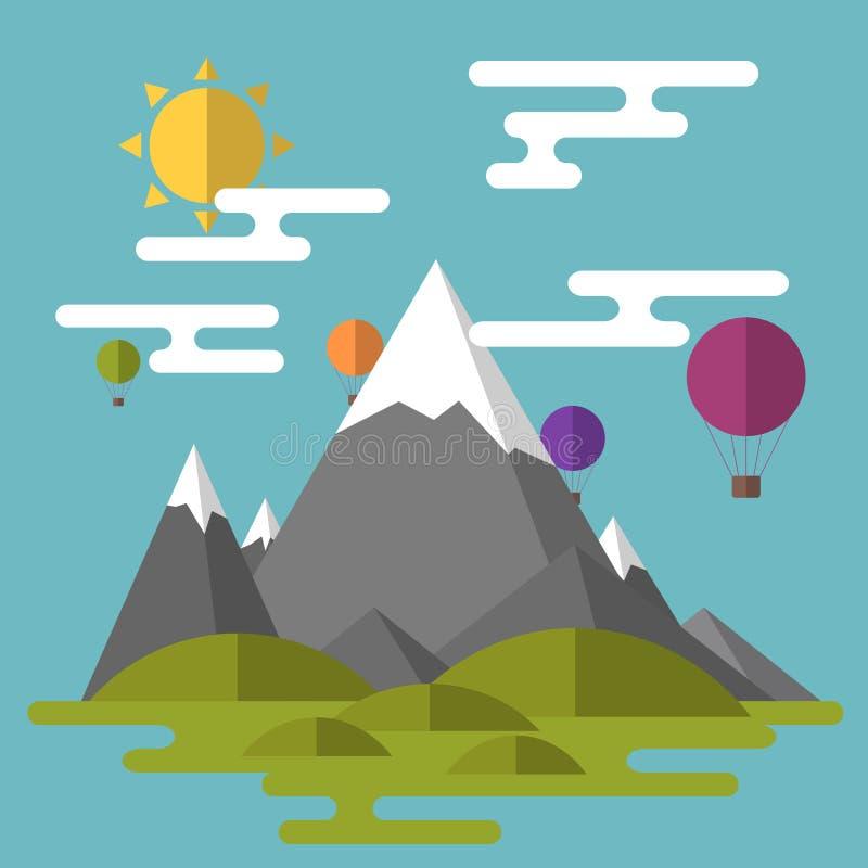 Ландшафт в плоском стиле Высокие горы, зеленые холмы, облака, su иллюстрация штока