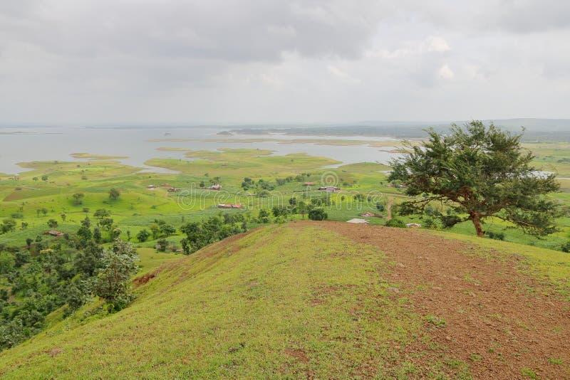 Ландшафт в природе, воде mahi задней, banswara, Раджастхане, Индии стоковое изображение rf