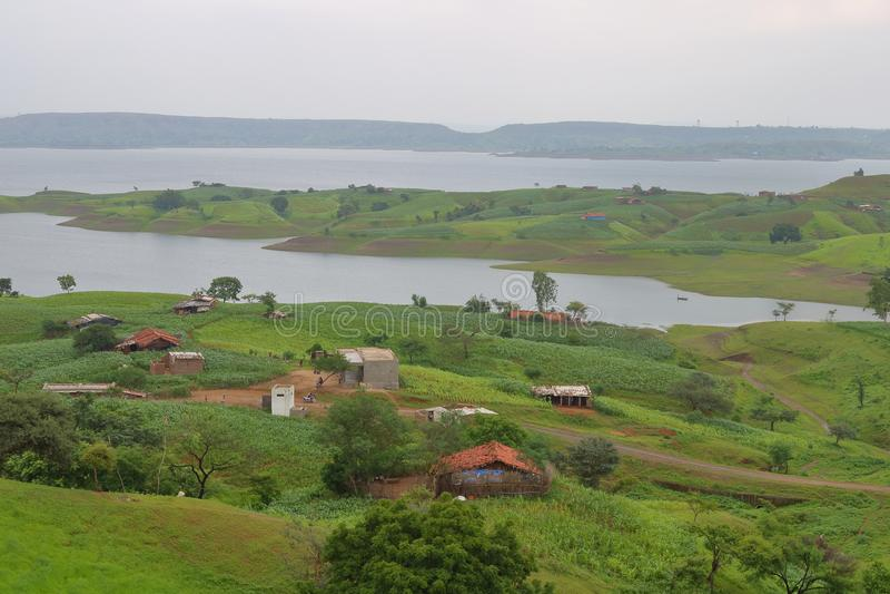 Ландшафт в природе, воде mahi задней, banswara, Раджастхане, Индии стоковое фото rf