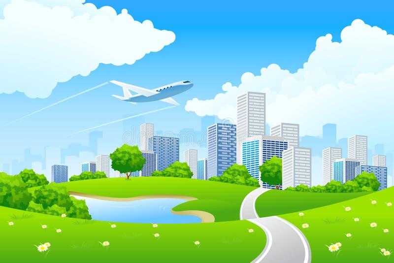ландшафт города зеленый иллюстрация вектора