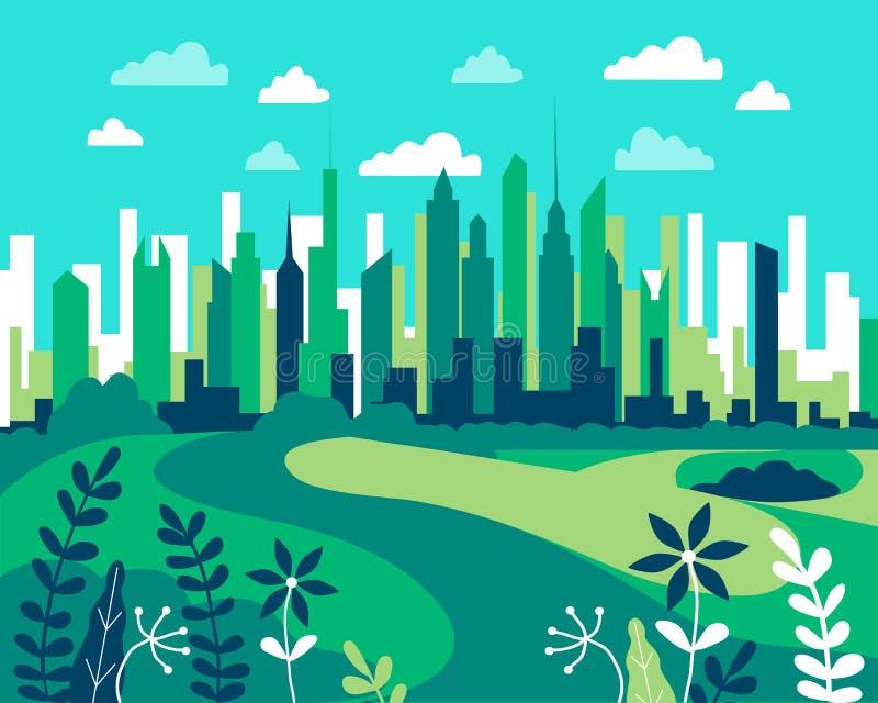 Ландшафт города плоский Вектор иллюстрации дизайна городской в простом иллюстрация штока