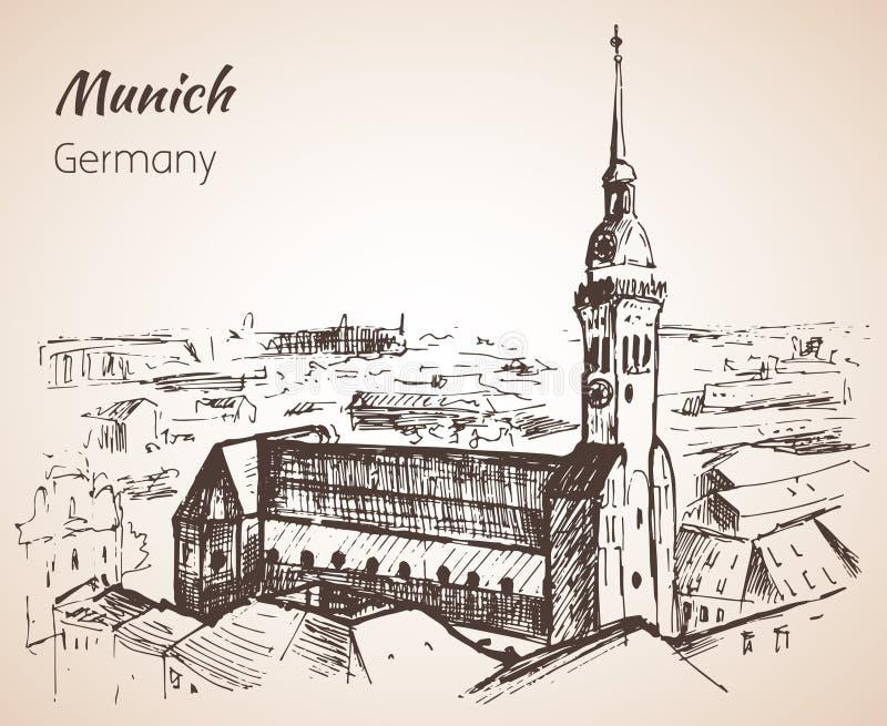 Ландшафт города Munchen, Германия эскиз иллюстрация вектора