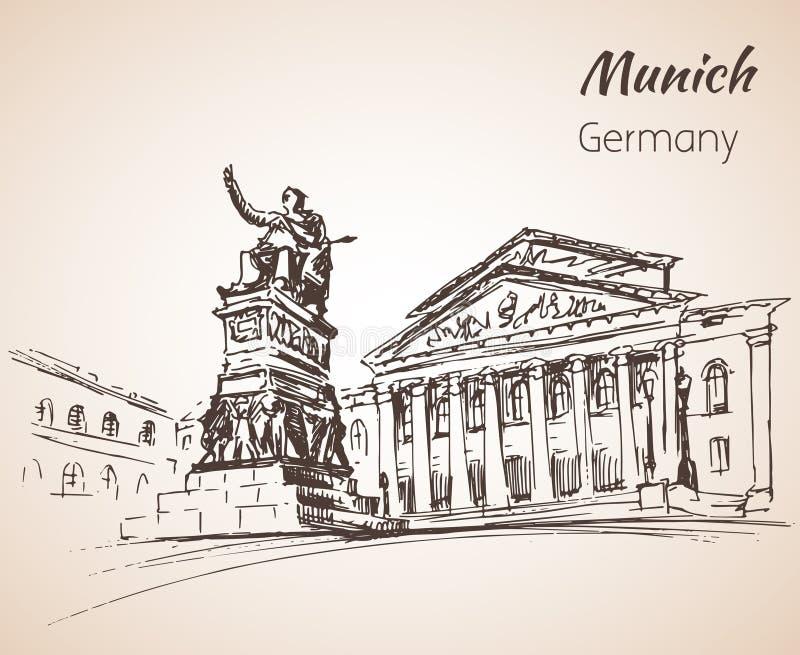 Ландшафт города Munchen, Германия иллюстрация вектора