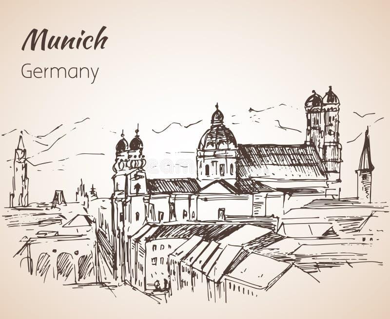 Ландшафт города Munchen, Германия бесплатная иллюстрация