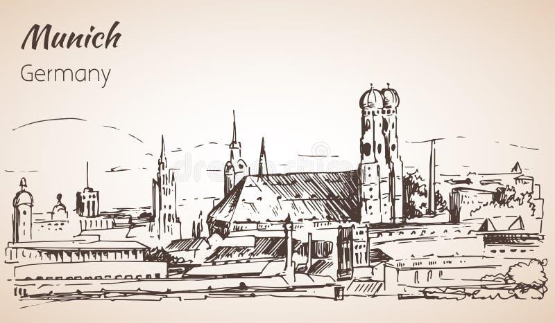Ландшафт города Munchen, Германия Frauenkirche бесплатная иллюстрация