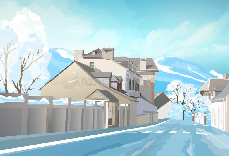Ландшафт городка зимы иллюстрация штока