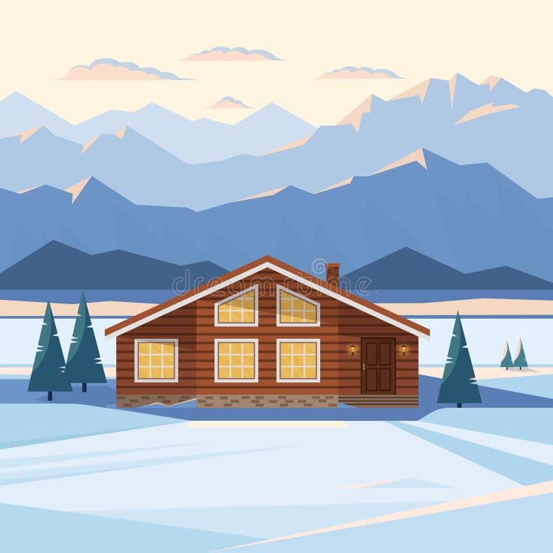 Ландшафт горы зимы с деревянным домом, шале, снегом, загоренными горными пиками, рекой, елями, загоренными окнами бесплатная иллюстрация