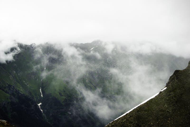 Ландшафт горы - лес гор, ледники утесов идет снег облака, Dombay, Karachay-Cherkessia, Россия стоковое фото rf