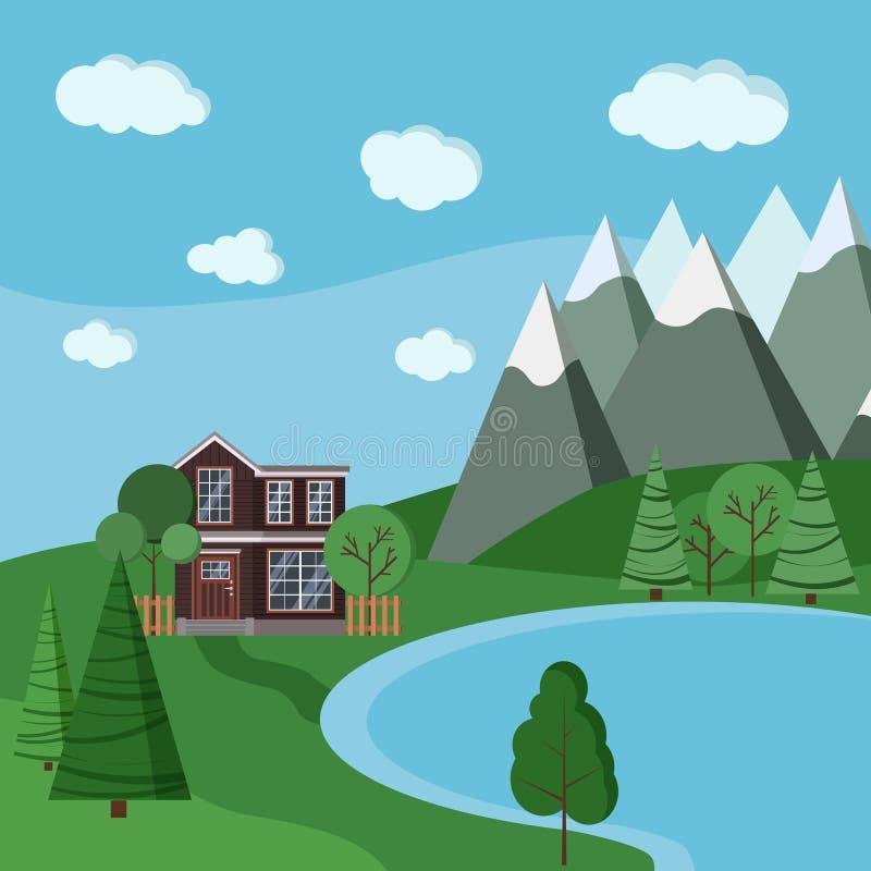 Ландшафт горы лета или весны с домом деревянной фермы 2-легендарным бесплатная иллюстрация