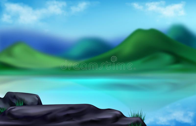 Ландшафт горы, лето запачканная предпосылка бесплатная иллюстрация