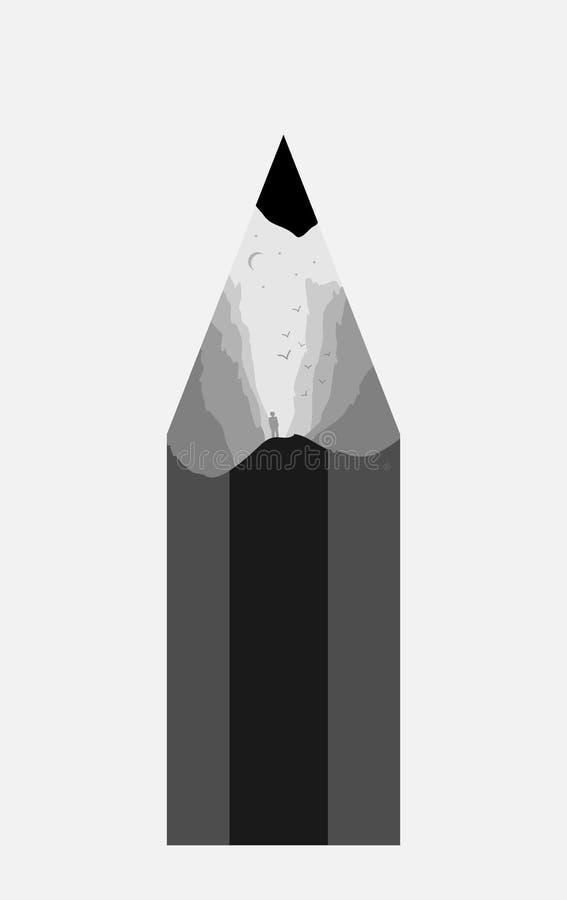 Ландшафт горы нарисован внутри карандаша иллюстрация вектора