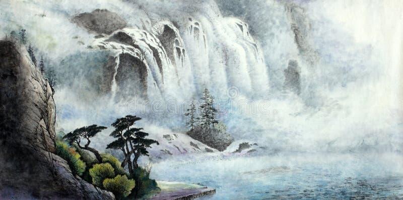 Ландшафт горы с водопадом бесплатная иллюстрация