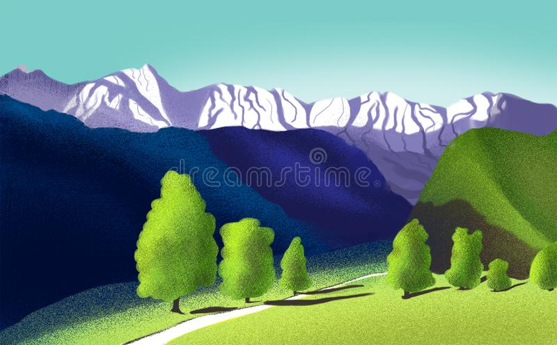Ландшафт горы цифров иллюстрация штока