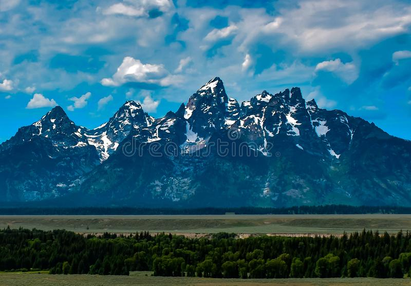 Ландшафт горы Teton стоковые изображения rf