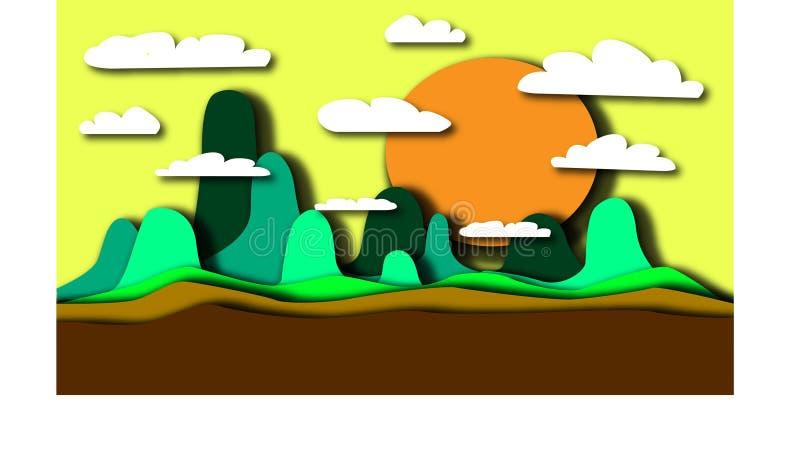 Ландшафт гор, облаков и солнца иллюстрация штока