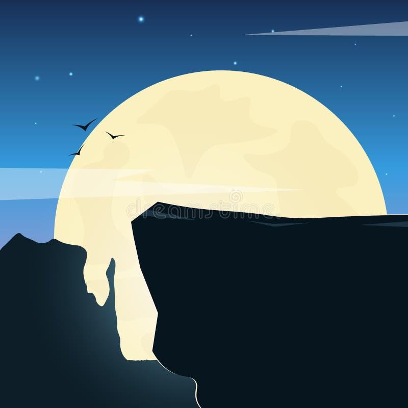 Ландшафт Дикого Запада с горами и кактусом Заход солнца на Техасе r бесплатная иллюстрация