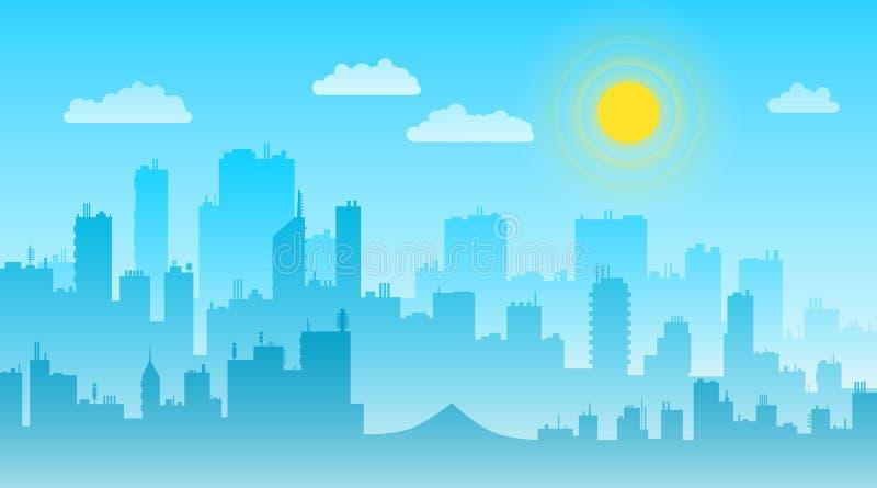 Ландшафт дня городского пейзажа с вектором горизонта зданий плоско иллюстрация вектора
