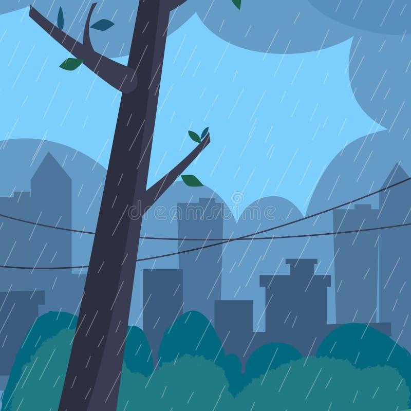 Ландшафт дождя Плоский стиль иллюстрация вектора