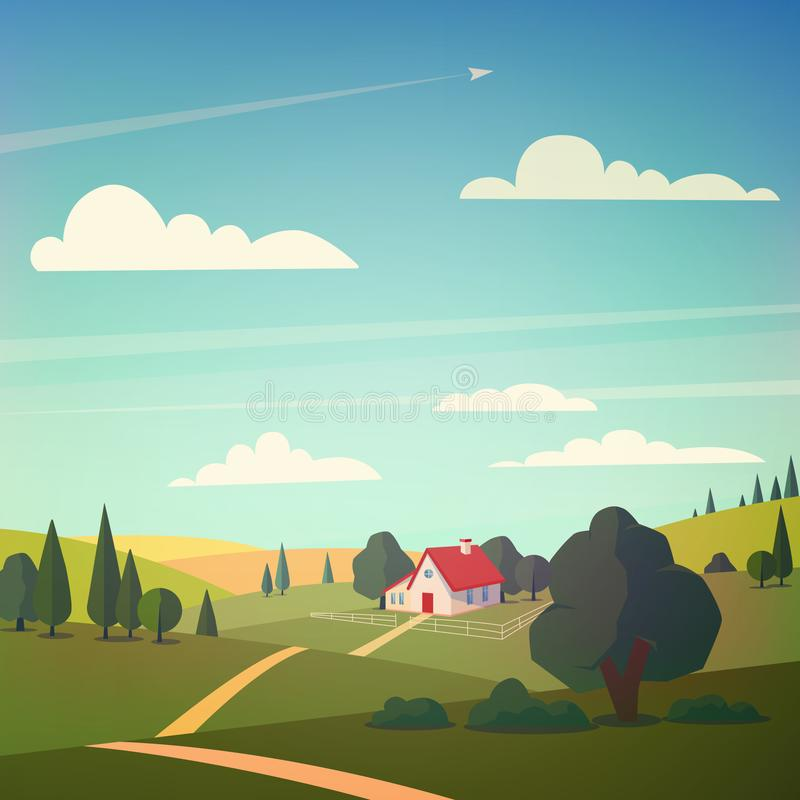 Ландшафт долины также вектор иллюстрации притяжки corel иллюстрация вектора