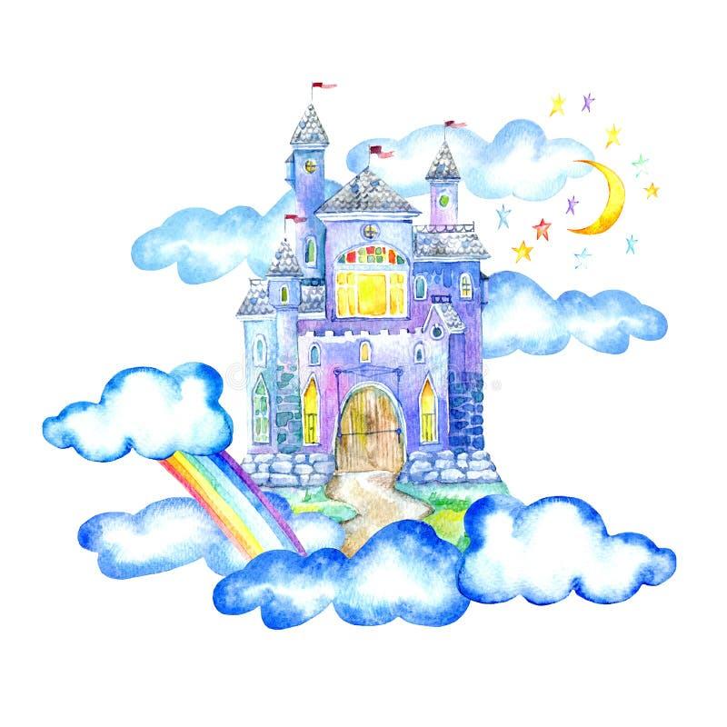 Ландшафт замка, луны, облаков и радуги феи иллюстрация штока