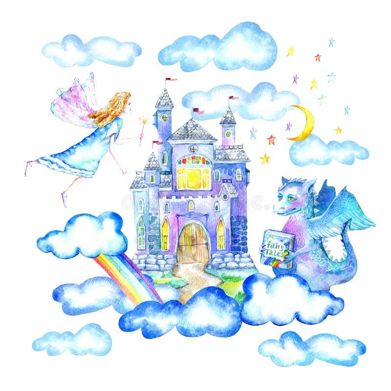 Ландшафт замка, феи, дракона, луны, облаков и радуги иллюстрация вектора