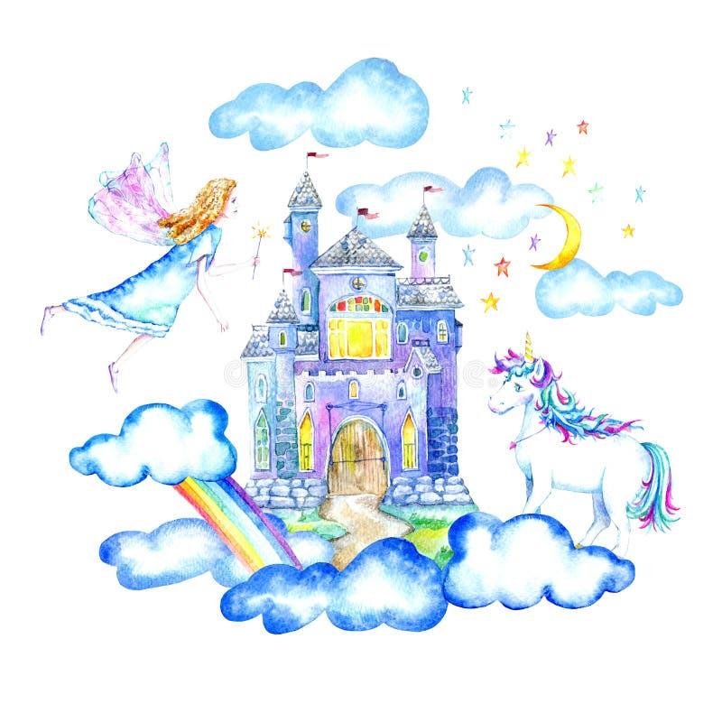 Ландшафт замка, феи, единорога, луны, облаков и радуги иллюстрация штока