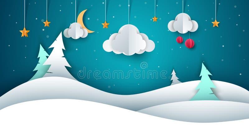 Ландшафт зимы - бумажная иллюстрация иллюстрация штока