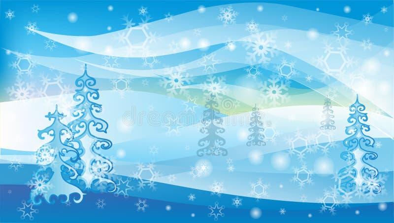 Ландшафт зимы вектора с белыми снежинками и деревьями бесплатная иллюстрация