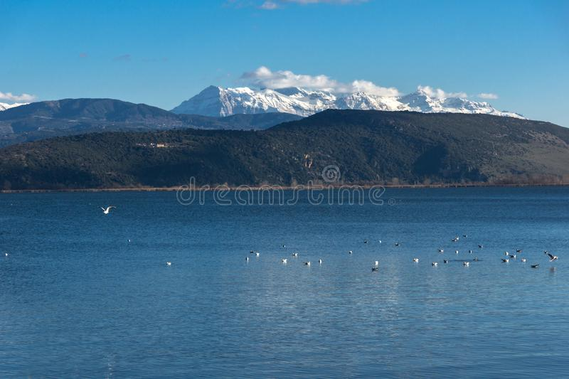 Ландшафт зимы горы озера Pamvotida и Pindus от города Янины, Epirus, Греции стоковое изображение