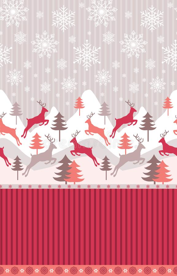 Ландшафт зимы горы с северными оленями, соснами в снеге Безшовная картина для темы зимы, Нового Года и рождества иллюстрация вектора