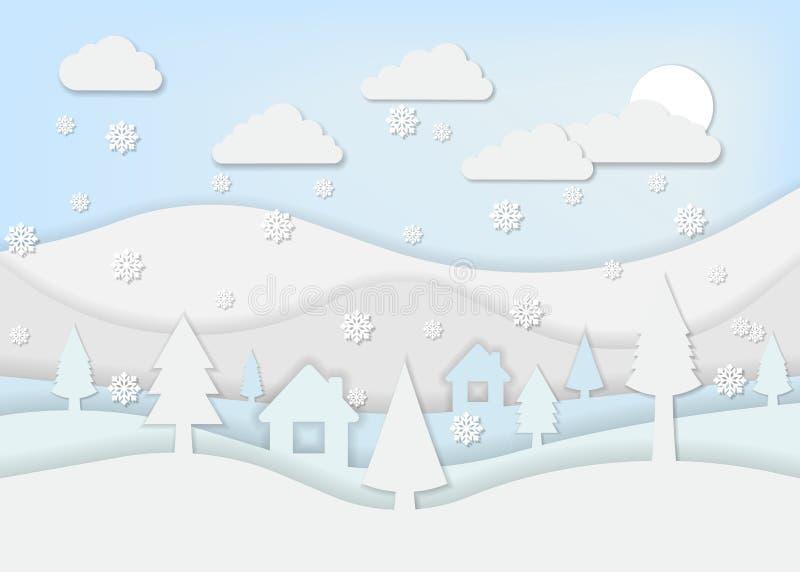 Ландшафт зимы для бумажного стиля искусства также вектор иллюстрации притяжки corel бесплатная иллюстрация