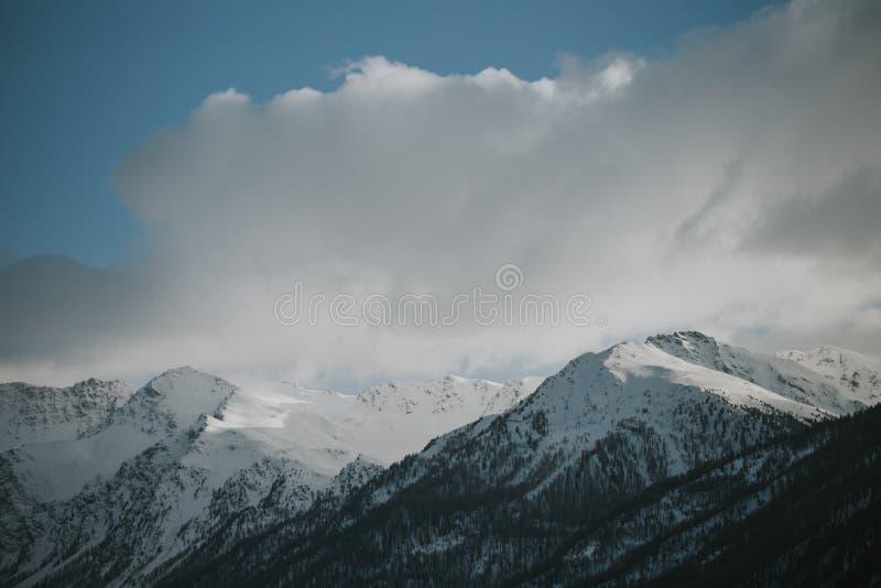 Ландшафт зимы итальянских Альпов, около Сестриере, северная Италия стоковая фотография rf