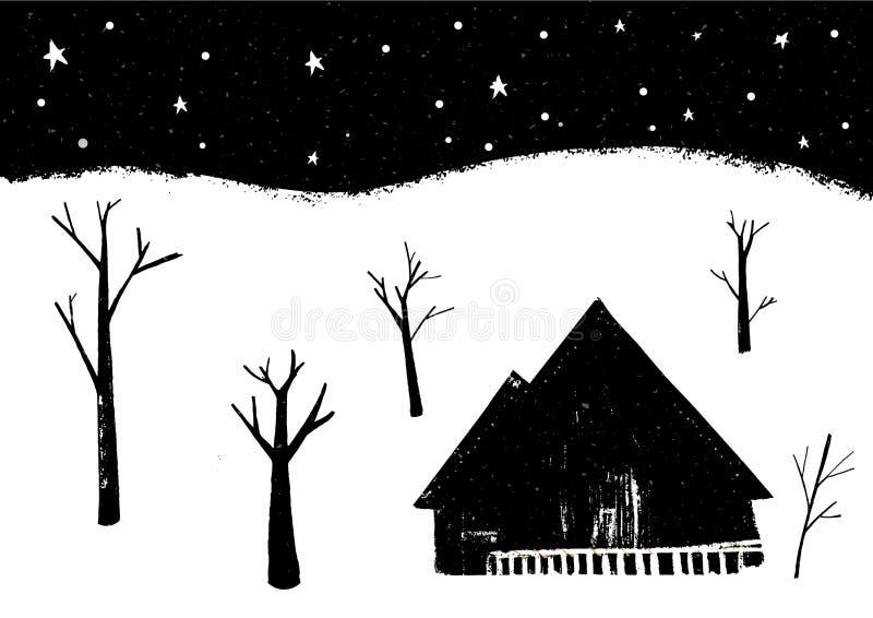 Ландшафт зимы, одиночный дом на лесе, сцене ночи с падая снегом бесплатная иллюстрация