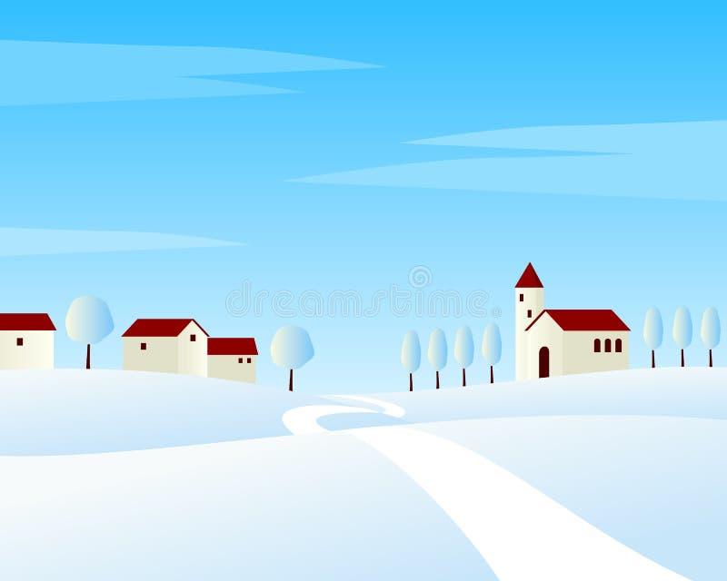 Ландшафт зимы проселочной дороги бесплатная иллюстрация