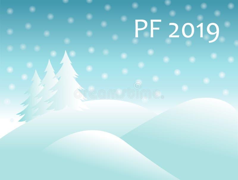Ландшафт зимы рождества с холмами покрытыми снегом и елевым деревом с падая шариками снега и текст подписывают PF 2019 новый год  иллюстрация вектора