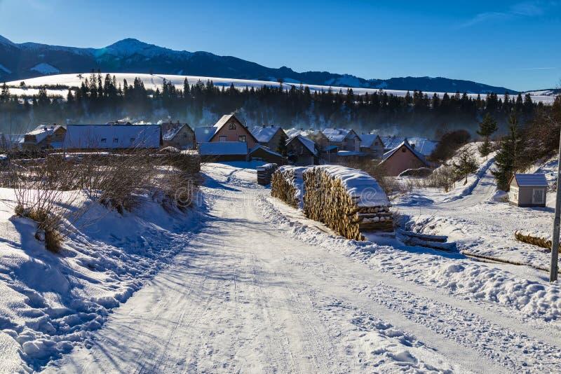 Ландшафт зимы сельский - горное село покрытое с снегом стоковое фото