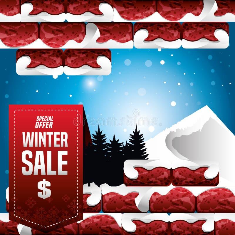 Ландшафт зимы со стеной сломленной и продажей рождества бесплатная иллюстрация