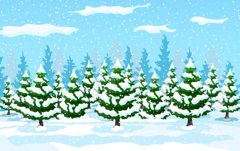 Ландшафт зимы с белыми соснами на снеге иллюстрация вектора