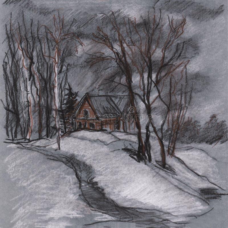 Ландшафт зимы с озером иллюстрация штока
